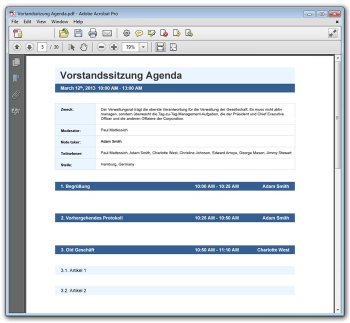 Agenda Vorlage